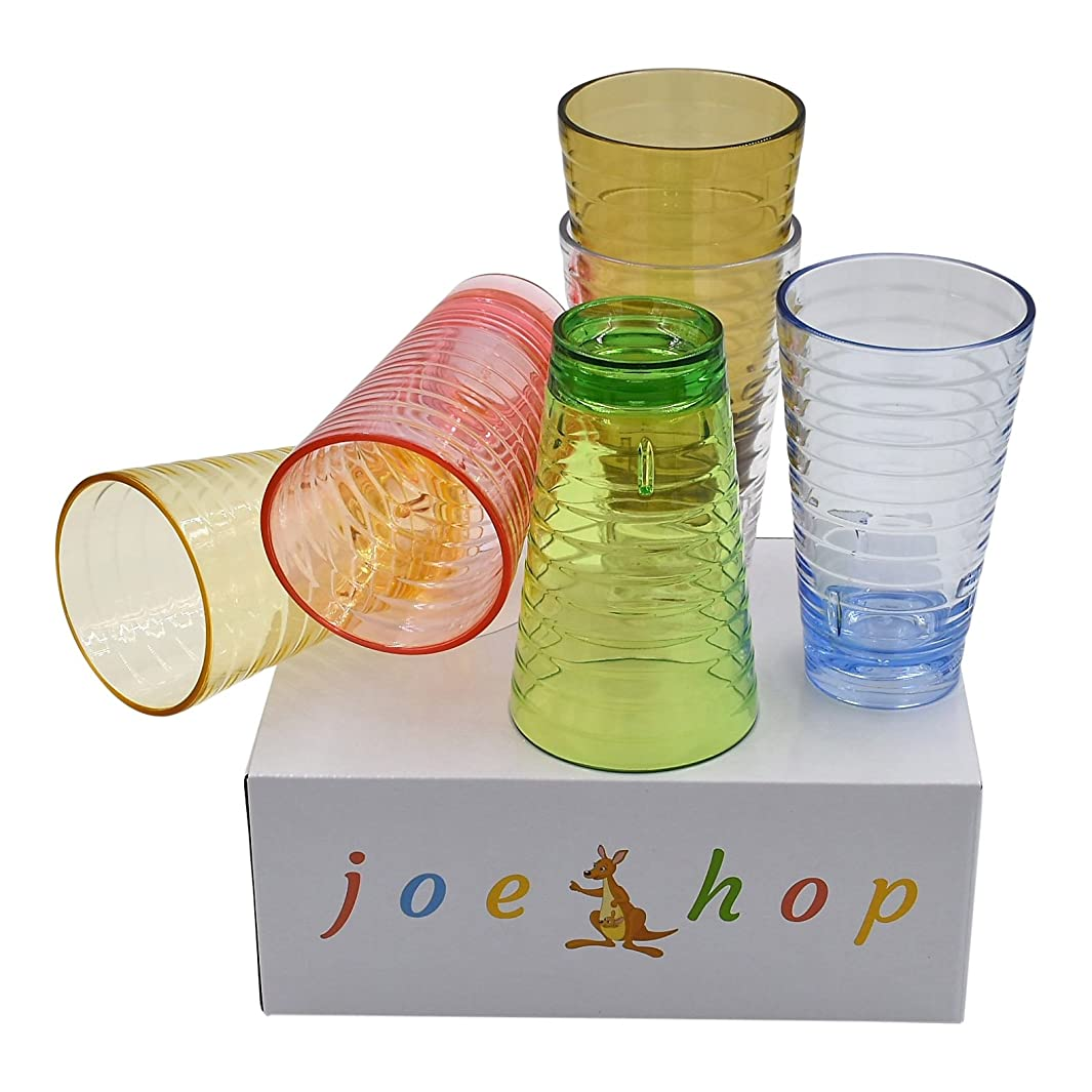 JoeHop 8oz children's Plastic glasses/ Tumblers/Premium Quality BPA-Free Break-Resistant cups/ Microwave/Dishwasher Safe Hot/Cold Drinks Set of 6 in Six Assorted Vibrant Colors