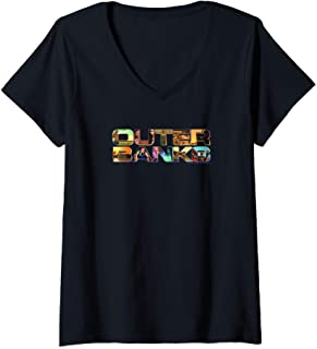 Femme Outer Banks Photo Logo Fill T-Shirt avec Col en V