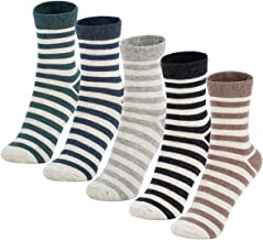 Women Casual Striped Socks Ankle Cotton Warm Long Color Sock 5&6 Pairs