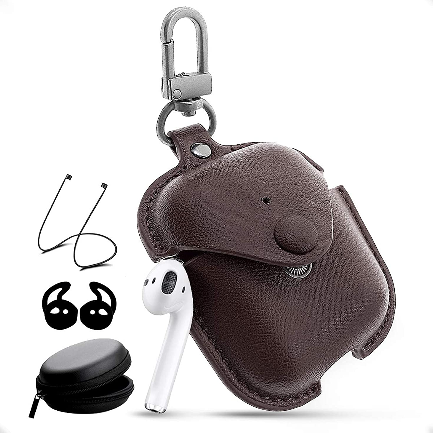 Airpods Leather Case with Strap Kit and Keychain Accessories, Houbox Full Protective Airpod Case Cover for Birthday Compatible Apple Airpods Charging Case (Coffee)