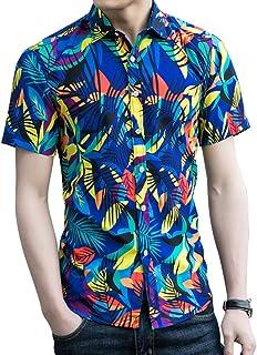 PinShang Men Hawaiian Summer Beach Casual Shirt Short Sleeves Fashion Printing Tops blue 3XL