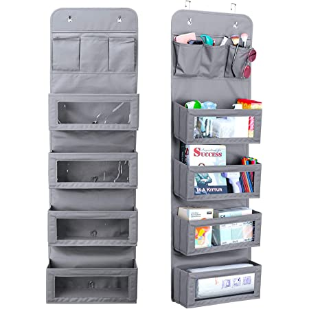 Over The Door Organizer Dorm Clear Window With 4 Pockets Space Saving Non-woven