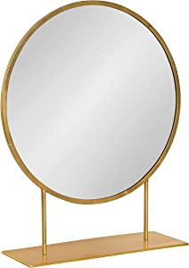 Kate and Laurel Rouen Modern Glam Round Metal Frame Table Mirror with Stand, Gold