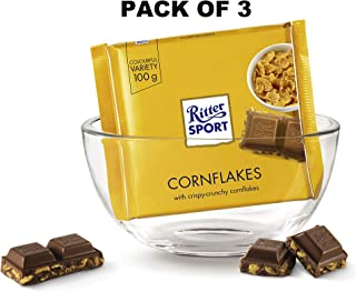Ritter Sport Milk Chocolate With Cornflakes Gourmet Candy Bar, 3.5oz - Pack of 3