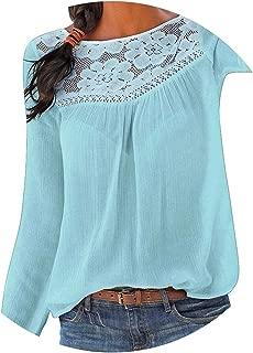 Women's Lace Blouse Women Winter Casual Long Sleeve Lace Patchwork Tops Women Blouse