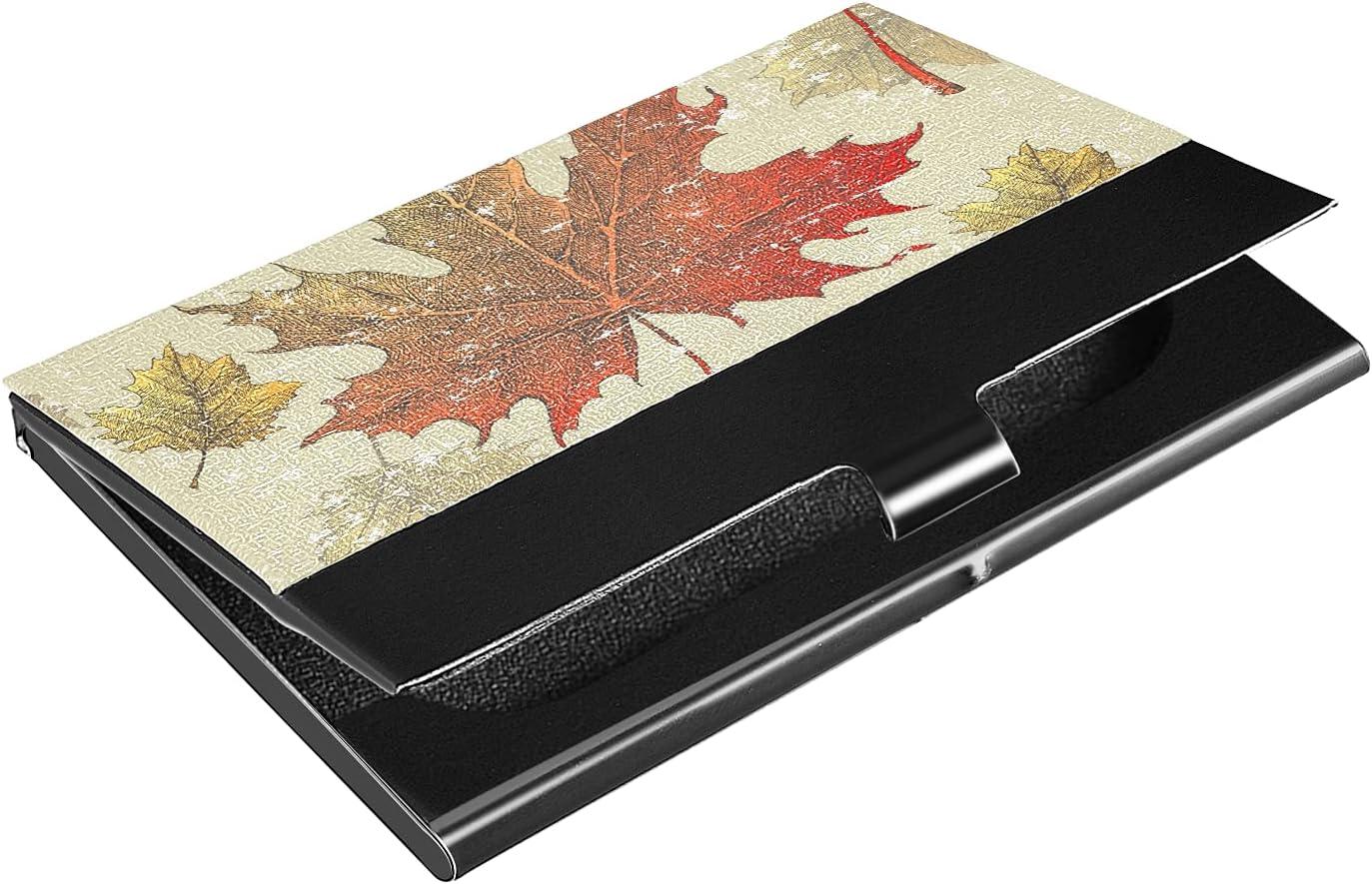 Portland Mall OTVEE Popularity Vintage Leaves Business Card Holder Wallet Steel Stainless