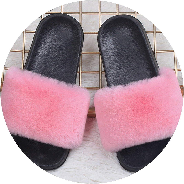 Leifun Lady Vintage Fox Fur Slippers Woman Summer Raccoon Hair Home Outdoor Plus Fur Hair shoes