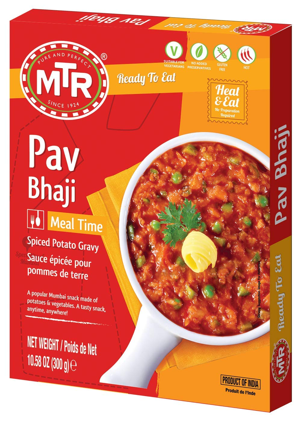 MTR Ready to Eat Pav Bhaji | Pack of 10 (10.58 Oz Each) | Spiced Potato Gravy | Authentic Indian Food | Hot Spicy | Just Heat and Eat | No Preparation | No additives | Gluten Free
