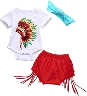 Newborn Infant Fashion Outfits Set Baby Girls Boys Indian Print Romper Shorts Headband Clothes Set 3Pcs