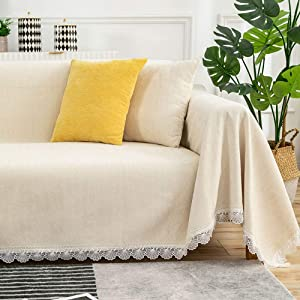 STACYPIK Chenille Fabric Furniture Covers - Non Slip and Stretch Chair Sofa Slipcover with Lace Fringing for 3 Cushion Couch Home or Workplace Pets Kids Children Dog Cat(Sofa, White Apricot)