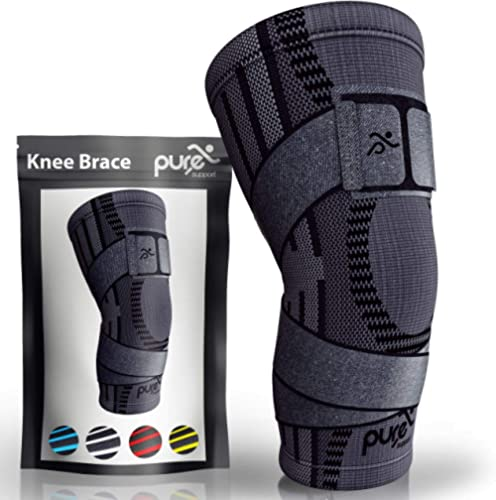 Pure Support Knee Brace Compression Sleeve Support | Patella Stabilizer for Meniscus Tear | for Running | Strap | Spo...