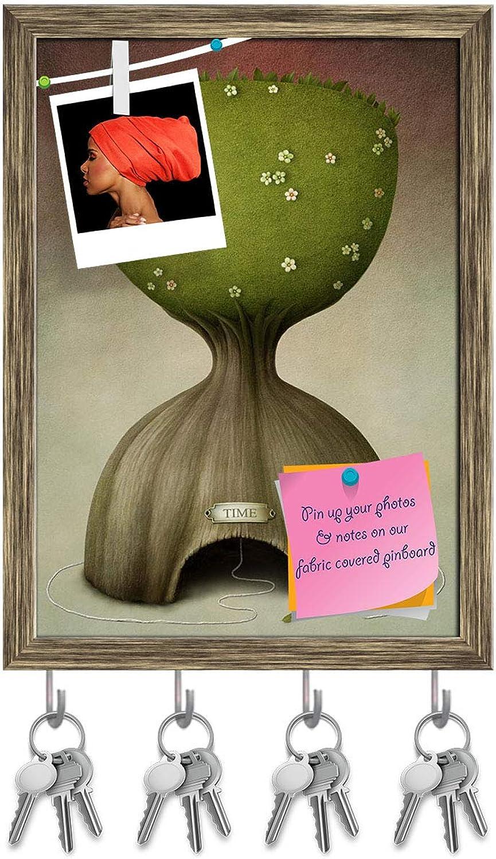 Artzfolio Symbolic Hourglass Tree Key Holder Hooks   Notice Pin Board   Antique golden Frame 10 X 13.7Inch