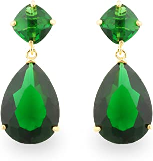 54470ea60 JanKuo Jewelry Gold Tone Angelina Jolie Inspired Bridal Prom Emerald Color Drop  Earrings