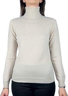 Cashmere Island- Maglione Donna 100% Cashmere Naturale- Made in Italy- Lavorato da Mani Esperte, Senza Cuciture- Comodo, C...