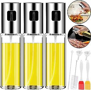 Oil Sprayer for Cooking, 3 PCS Olive Oil Sprayer Mister 3.4-Ounce Refillable Oil Vinegar Dispenser Stainless Steel Glass Bottle with Basting Brush Bottle Brush Oil Funnel for Kitchen BBQ Grilled Salad