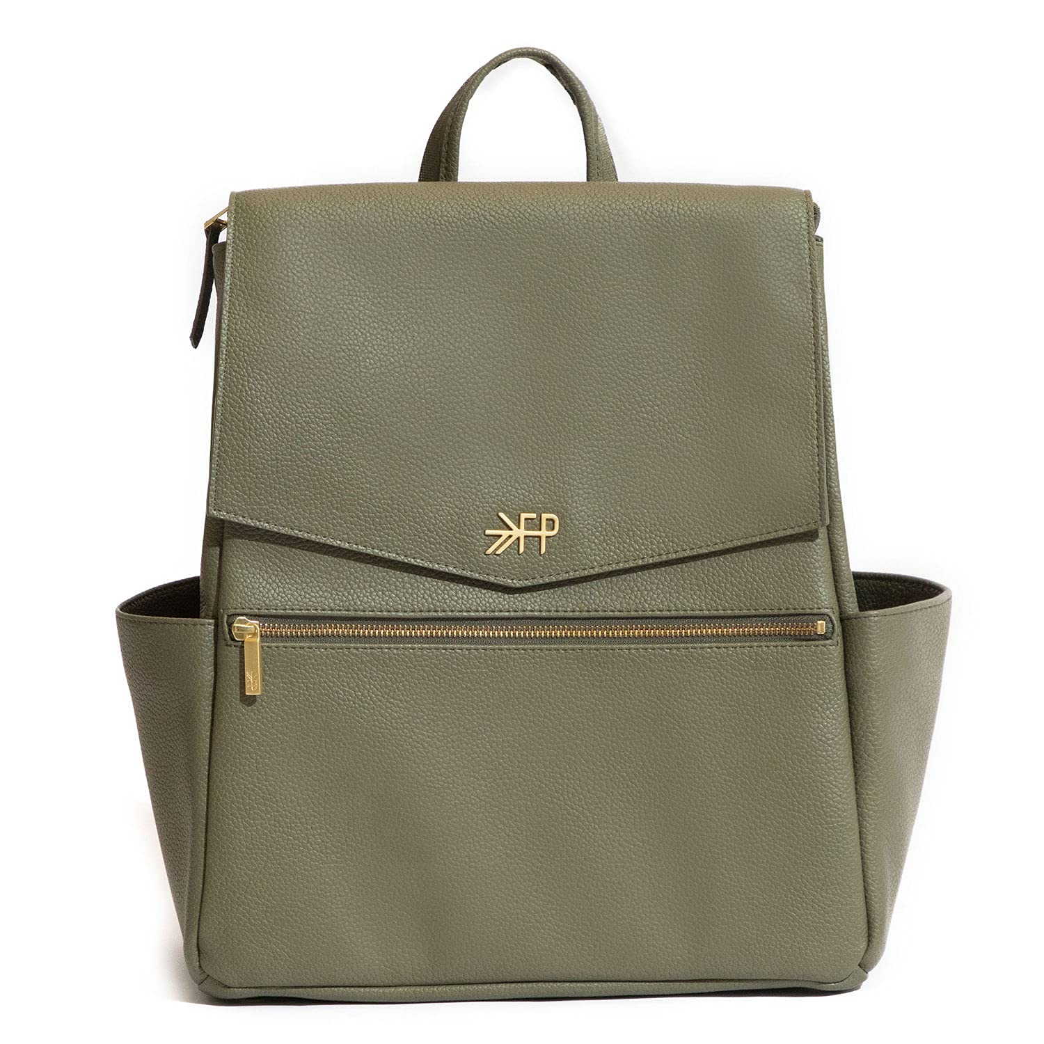 Freshly Picked - Convertible Classic Diaper Bag Backpack - Large Internal Storage 10 Pockets Wipeable Vegan Leather (Sage Green)