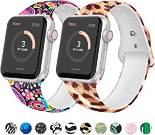 JuQBanke [2 Pack] Sport Band Compatible for Apple Watch Band 38mm 40mm 42mm 44mm, Soft Silicone Fadeless Pattern Printed Replacement Strap for iWatch Series 5/4/3/2/1