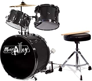 Music Alley DBJK02-MR Three Piece Junior Drum Kit for Kids with Cymbal Pedal Drum Stool and Drum Sticks Metallic Black