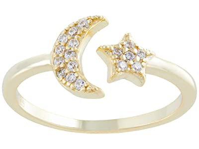 SHASHI Moon Star Pave Adjustable Ring (Gold) Ring