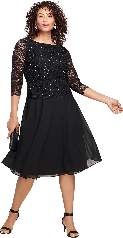 Roamans Women's Plus Size Embellished Lace & Chiffon Dress Formal Evening