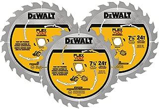 DEWALT FLEXVOLT 7-1/4-Inch Circular Saw Blade, 24-Tooth, 3 Pack (DWAFV37243)