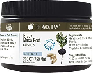 The Maca Team Organic Gelatinized Black Maca Root Capsules – Fair Trade, GMO-Free, Gluten-Free and Vegan, 750 mg, 200 Ct