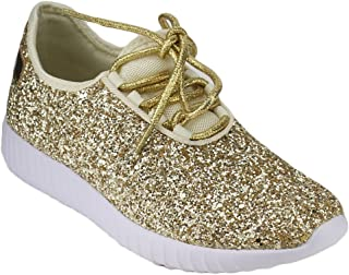Forever Link Women's Remy-18 Glitter Lace-Up Low Top...