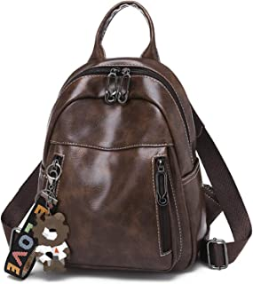 Elonglin Women Girls Fashion Casual Daypack Multipurpose Backpacks PU Leather with Bear Pendant Brown 1