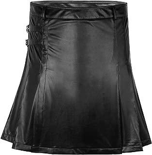 Mens Sexy Faux Black Leather Gladiator Kilt Gay Clubwear