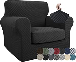 ZNSAYOTX 2 Piece Jacquard Chair Slipcover for Living Room Super Stretch Chair Covers with Arms Pet Dog Universal Slip Cove...