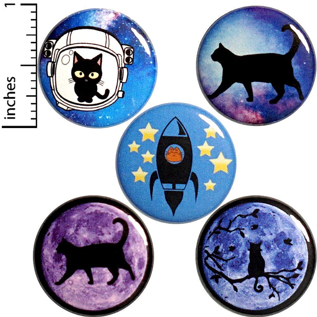 Cat Button 5 Pack Pins or Magnets 1 Inch P18-2