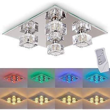 LED Deckenlampe Vierflammig Quadratisch Glas Chrom Deckenlampe Leuchte Flur