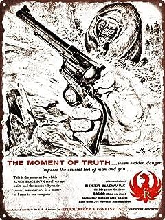 Yilooom 1957 Ruger Blackhawk Revolver Howard Nostrand Bear Art Metal Sign 8