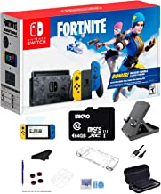 Newest Nintendo Switch Wildcat Bundle Fort-nite Special Edition 32GB Console - Yellow and Blue Joy-Con, 64GB SD Card and G...