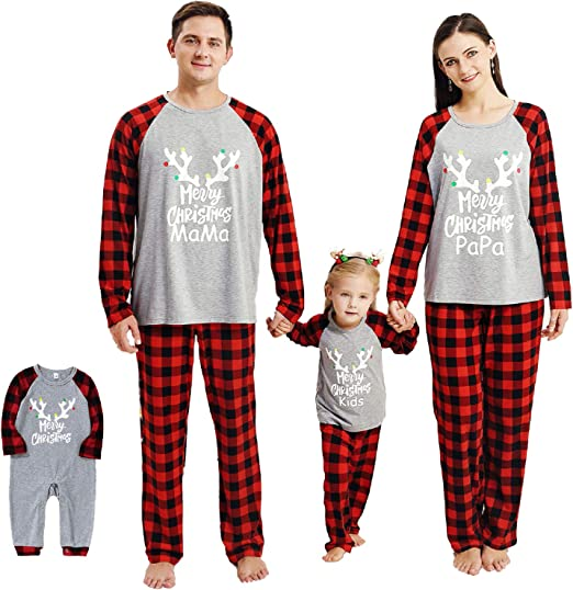 SH-RuiDu Family Christmas Matching Outfits, Reindeer Plaid Clothes Set for Pet Baby Kid Parents