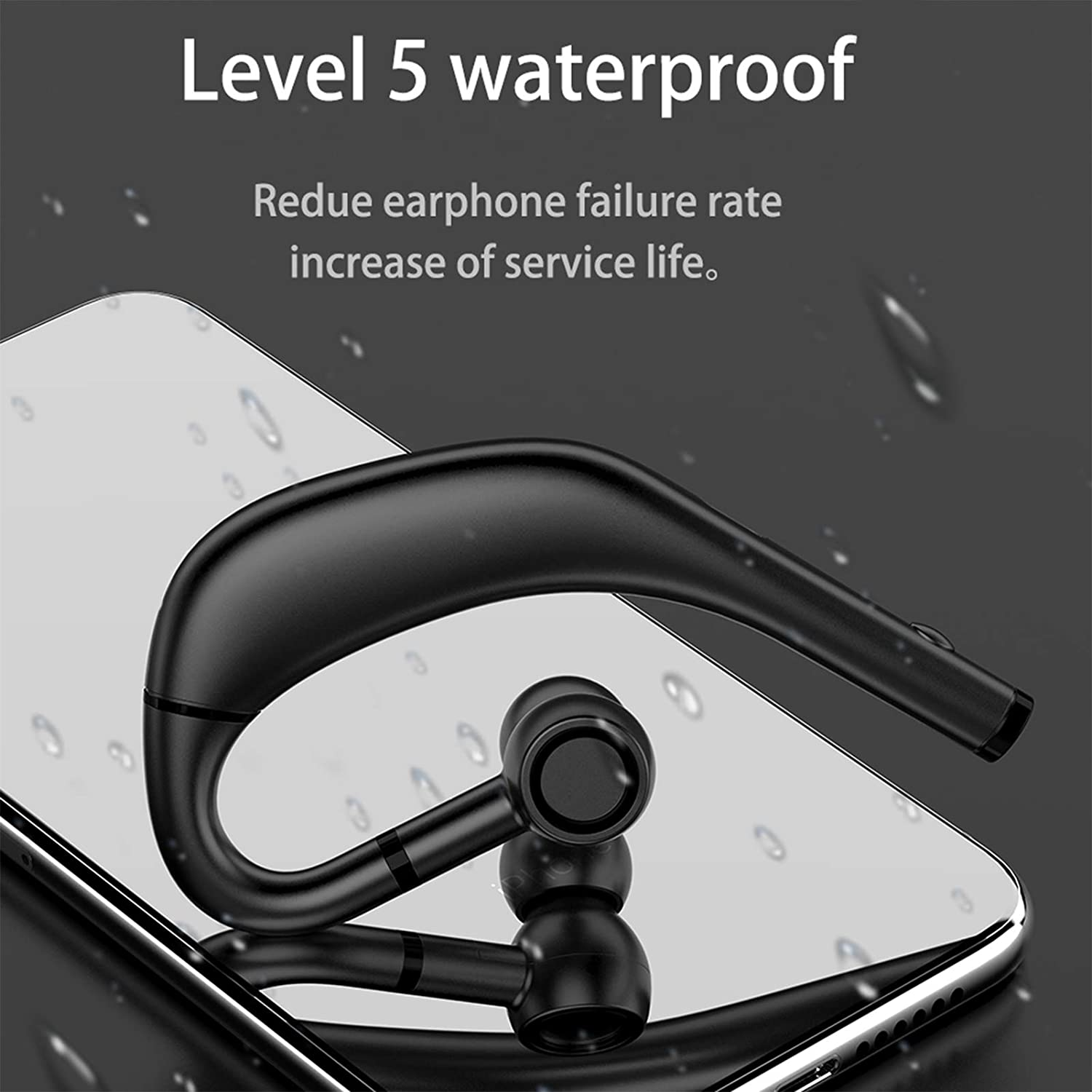 Heave Bluetooth 5.0 Headphones with Mic,True Wireless Business Earhook Waterproof&Lightweight Earbuds for Work, Home Office,Up to 240-480Hours Long Standby Time Blue