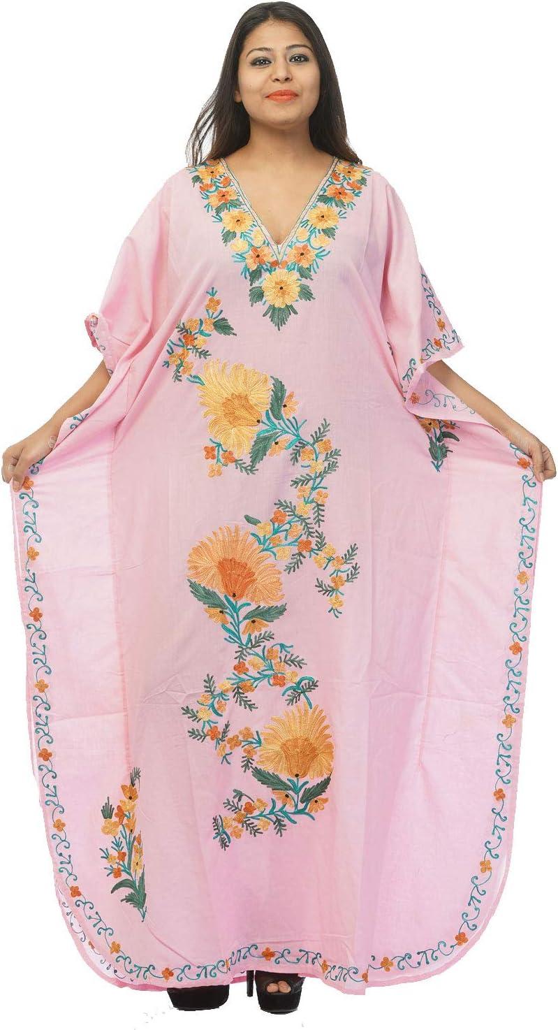 Creativegifts Kashmiri Embroidered Long Kaftan Maxi Dress Beach Cover up for Women (DX001G84T3P)