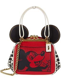코치 COACH X Mickey Keith Haring Mickey with Signature Leather Kisslock Bag,Electric Red Multi