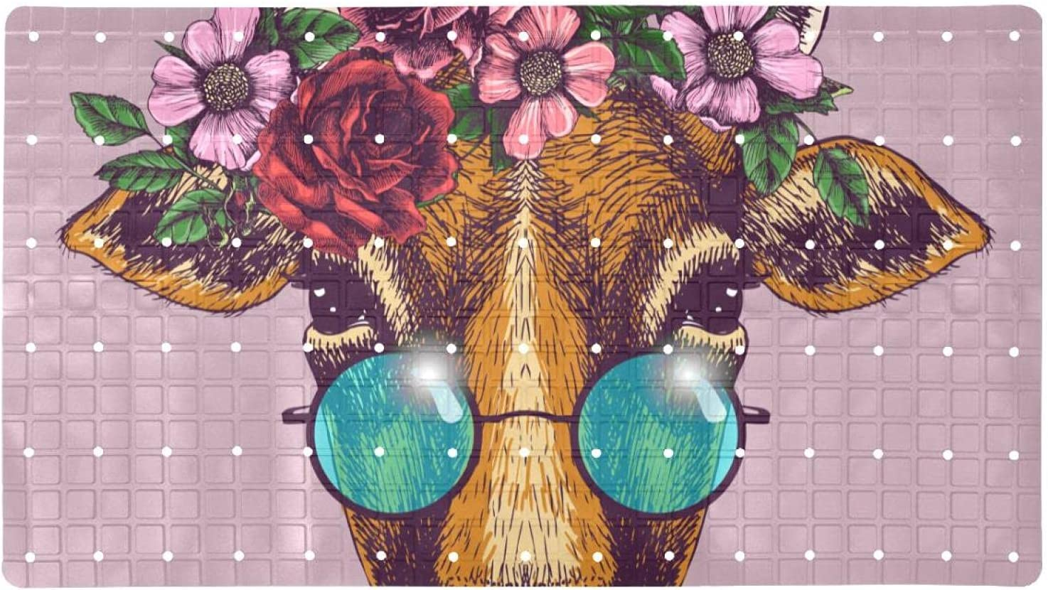 Bath Tub Shower New York Mall Mat 15.7x27.9 inches Colorado Springs Mall with Portrait Floral Wr Cow