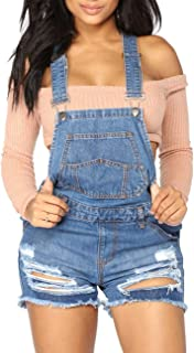 Women's Classic Adjustable Straps Cuffed Hem Denim Bib...