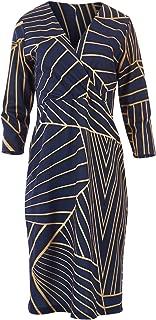 Belle Bird Womens Calf Length Dresses Belle Mixed Diagonals Dress Diagonal