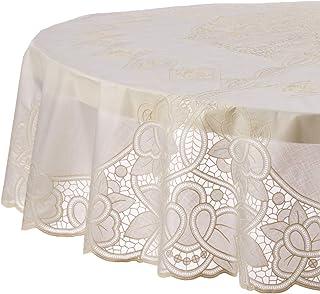"Violet Linen Vinyl Lace Betenburg Design Tablecloth, 72"" Round, Beige"