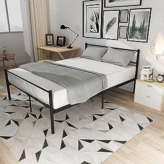 Lit Double Adult en Métal 2 Place Design Comfort 139 x 198 x 88,5 cm Noir