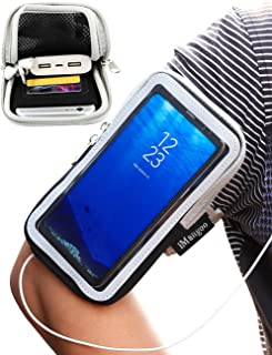 Galaxy S8 Plus Armband, iMangoo Universal Cell Phone Pouch Samsung Galaxy S8 Running Armband Outdoor Sports Armband Gym Card Pocket Wrist Bag Touchscreen Arm Band Sleeve for Galaxy S8 Plus LG G6 Black