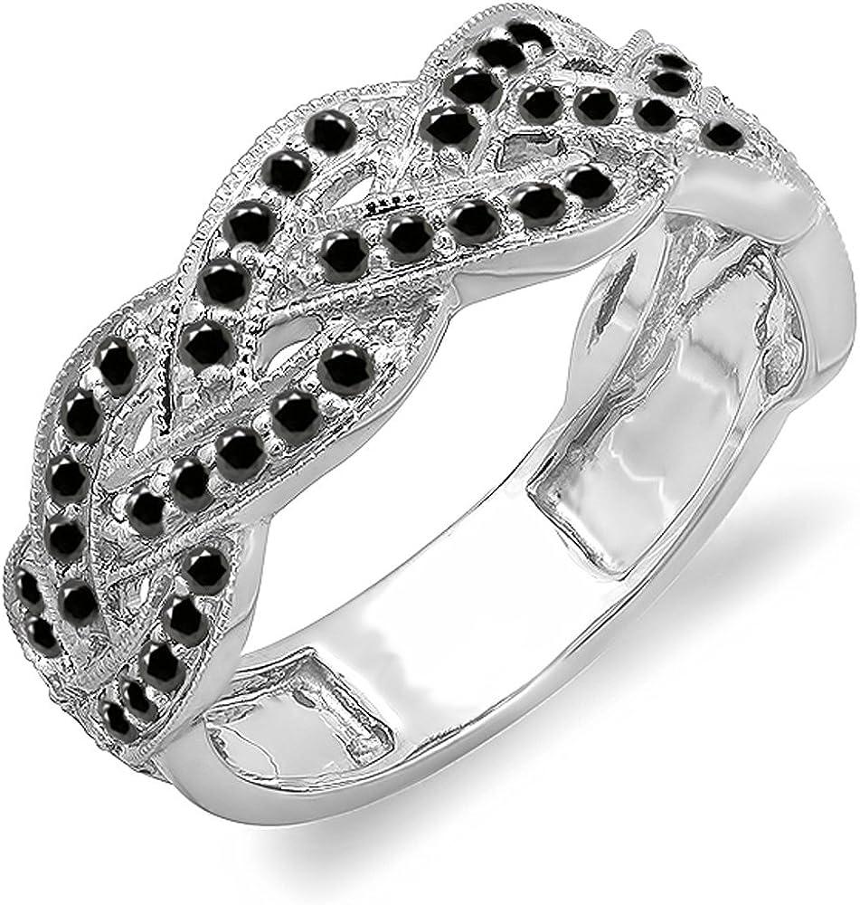 Dazzlingrock Collection 0.58 Carat (ctw) 10k Round Black Diamond Ladies Anniversary Stackable Swirl Ring 1/2 CT, White Gold
