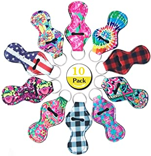 Huihui Decoration 10 Pieces Lipstick Holder Keychain Keyrings Neoprene Chapstick Key Chain Holder Lip Balm Holder Keychain with 10 Different Vibrant Prints (10 Pack) (10 Pieces)