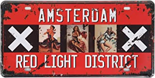 TTDECK Tin Sign Quality Amsterdam Red Light District Pin up Girl Metal Sign Vintage Garage Home Decor 6x12 Inch