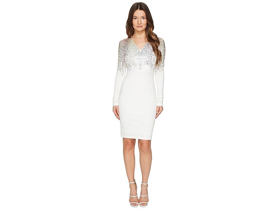 Just Cavalli Long Sleeve Fitted Short Dress (Optical White) Women