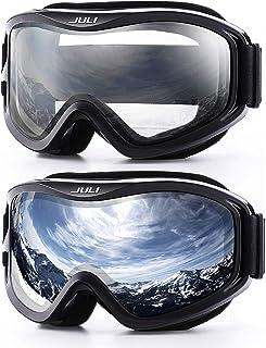 Juli Snowboard & Ski Goggles - Premium Snow Goggles,2Pack(Silver+Clear)