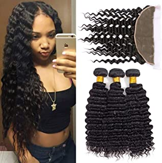 Brazilian Virgin Deep Wave Human Hair 3 Bundles with Lace Frontal 13×4 Ear to Ear Lace Frontal with Bundles Deep Curly Hair Weave Natural Black(12 frontal+14 16 18)